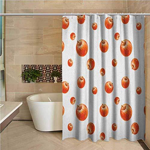 N\A Land Duschvorhang Apfel Aquarell Stil Cameo Äpfel Abstrakte Küchenelemente Pinselstricheffekte Zinnoberrot Weiß