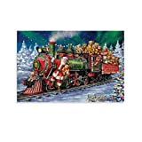 Zpeng Christmas Santa Claus - Santa Riding Train with Toy Bears by Marcello Corti Canvas Art Poster and Wall Art Picture Print Modern Family Bedroom Decor Posters 16x24inch(40x60cm)