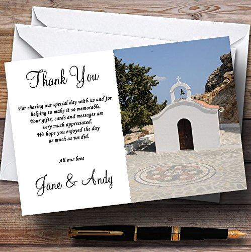 Bruiloft Dank Kaarten St Pauls Lindos Rhodos Jetting Off Abroad Gepersonaliseerd Met Enveloppen - Elke Aangepaste Tekst Voor Elke gelegenheid 10 Cards & Envelopes