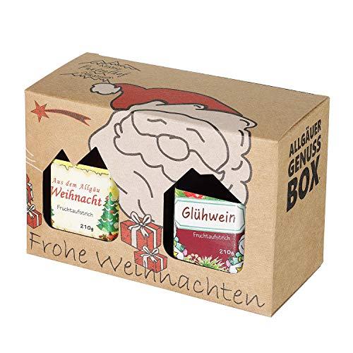 Weihnachts Genuss-Box - Feinkost Geschenk-Set - 210g Glühweinmarmelade und 210g Weihnachtsmarmelade - Allgäuer Delikatessen in weihnachtlichem Geschenkkarton