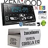 Autoradio Radio Kenwood DPX-M3100BT - 2-DIN Bluetooth USB VarioColor Einbauzubehör - Einbauset für Toyota Corolla E12/120 - JUST SOUND best choice for caraudio