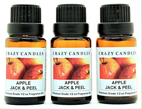 Crazy Candles Apple Jack & Peel 3 Bottles 1/2 Fl Oz Each (15ml) Premium Grade Scented Fragrance Oil (Fresh Apple, Cinnamon, Cove and Orange)