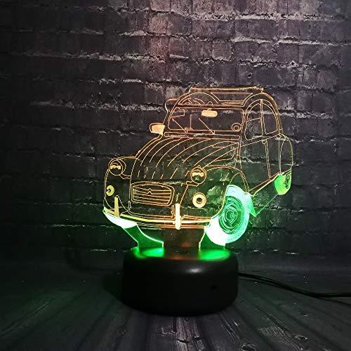 LIkaxyd 3D Lámpara Óptico Illusions Luz Nocturna Coche Lámpara De Luz 3D 7 Colores Cambian,Ideas De Festivo Y Regalos Para Niños Niñas Y Adultos