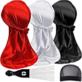 3PCS Silky Durags and 1 Wave Cap Pakcs for Men Waves, Satin Doo Rags for 360 540 720 Waves, Award 1 Afro Hair Pick