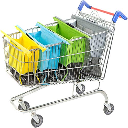 Grocery Store Cart Bags Holder Shopping For Carts Reusable Trolley 4 Pack Collapsible Carrying Groceries With Mixed Colors Bag Heavy Duty Tote Eco Friendly Canvas Set Handles Foldable(Small)