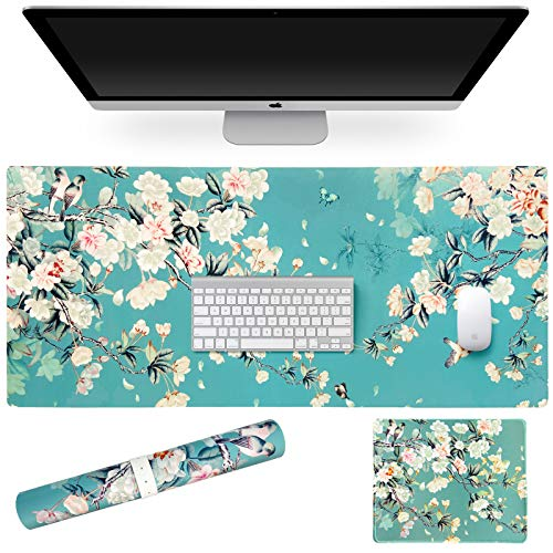 SANFORIN Multifunctional PU Leather Office Desk Pad 35.4''X15.7'' with Floral Design + Mouse Pad 10.2''×8.3''×0.12'', Extended Large Non Slip Ultra Thin Waterproof Desk Writing Mat (Chinese Flower)