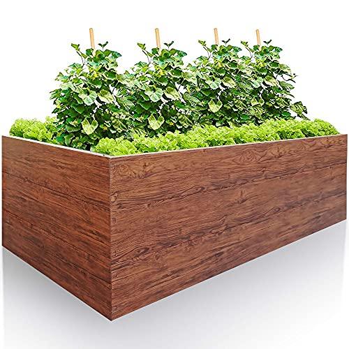 GARTENDEK Hochbeet aus verzinktem Metall für Garten 200x100x63 cm sehr Stabil - Premiumqualität Stahl, Holzoptik, Rechteckig. Blumenhochbeet Gartenbeet für Kräuter und Gemüse, Langlebig