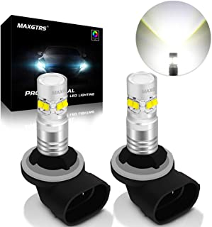 MAXGTRS 50W 881 Cree Chip White LED Fog Light 862 886 889 894 896 898 H27 LED Fog Blubs with Condenser Lens - Extremely Bright LED Fog Lamp Conversion Kit