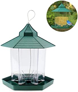 Gazebo Bird Feeder,Hamkaw Panorama Hanging Wild Bird Feeders with 6 Feeding Ports Large Capacity Weather-Proof Transparent Outdoor Decoration for Outside Garden Yard Tree - Green