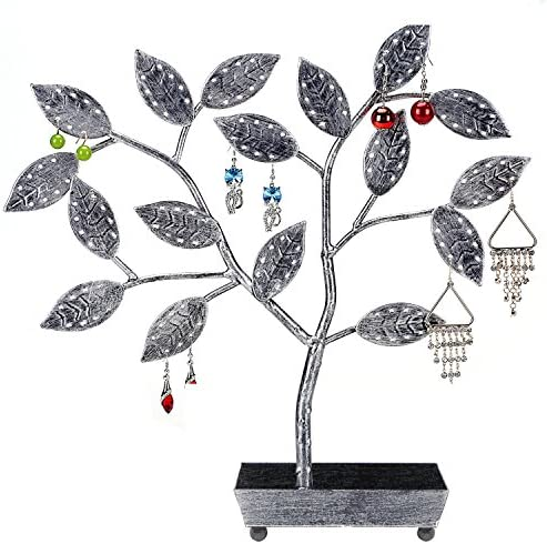 MyGift Jewelry Tree, Earring Necklace Hanger Holder with Ring Dish Tray, Black