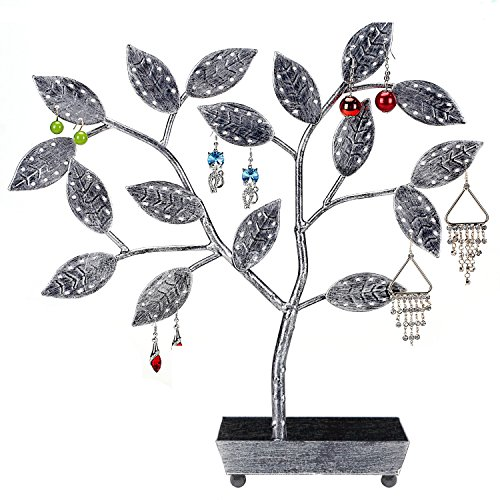 MyGift Tree Design Jewelry Hanger, Earring Necklace Holder with Ring Dish Tray, Silver