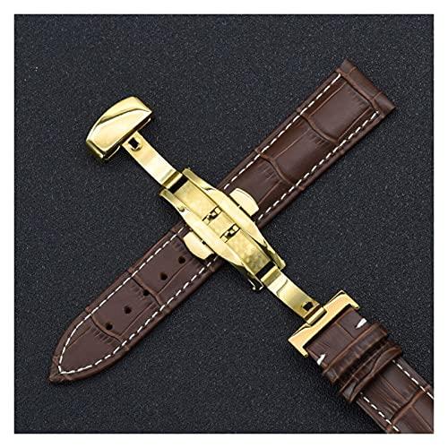 LINMAN WatchBands 18mm 20mm 22mm 24mm Becerro de Cuero Genuino de Cuero Cuero de la Banda de la Correa de Reloj de Grano, para Tissot Seiko (Band Color : Gold Brown White, tamaño : 20mm)