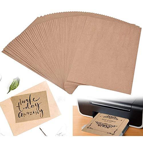 BETOY 100 fogli di Carta Kraft,Cartoncini di carta riciclata, cartoncini colore marrone naturale, DIN A4, cartone naturale, in cartone Kraft 80 g Qualità,arti e mestieri per ufficio carta per stampa