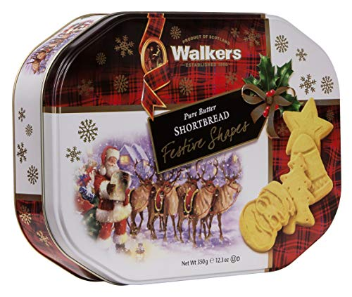 Walkers Shortbread Festive Shapes Shortbread Holiday Cookies, 12.3-Ounce Tin
