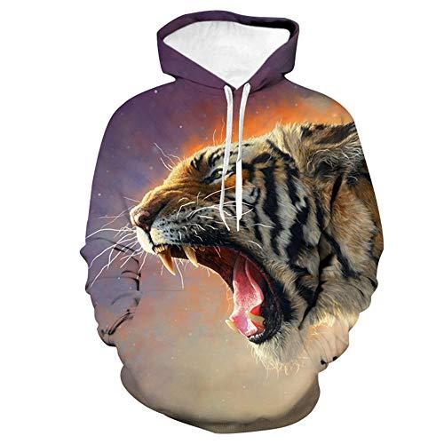 RKWEI Jungen Mädchen Kinderbekleidung Mit Kapuze Reißverschluss Rundhals Langarm 3D gedruckt Tier Tiger Muster Pullover Herbst Und Winter Sweatshirts Hoodies 110 cm