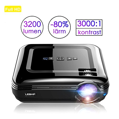 Beamer, leshp HD 3200lumen LED proiettore Home Cinema HDMI Proiettore Video proiettore 1280* 800Pixel supporto HDMI 1080P/usbx2x2/AV/VGA/Micro SD 3200 lumen Schwarz beamer