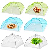 17'x17' Pop-Up Food Mesh Protector Cover Umbrella Food Nets Screen,Reusable and Collapsible Outdoor Food Tents for Parties Picnic BBQ (6 Pack)