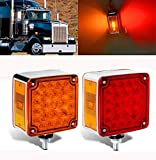 2Pcs Amber/Red Truck Trailer Mark Light 52 LED Square Dual Double Face Fender Stop Turn Signal Tail Lamp Stud Pedestal Lights, Replacement for Volvo Kenworth Peterbilt Freightliner Western Star