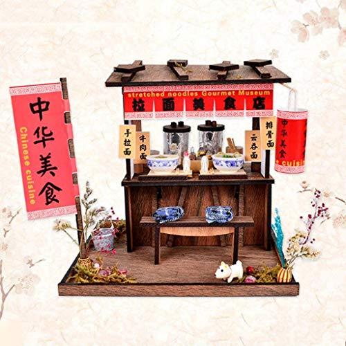 tianluo DIY Puppenhaus 1/24 DIY Holzpuppenhaus Miniatur-Kits - Antike Handgezogene Nudeln Shop Mit Köstlichen Lebensmitteln