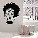 mlpnko Hermosa niña Africana Tatuajes de Pared Afro Peinado salón de Belleza Mujer Dormitorio Interior Mural,CJX13351-63x80cm