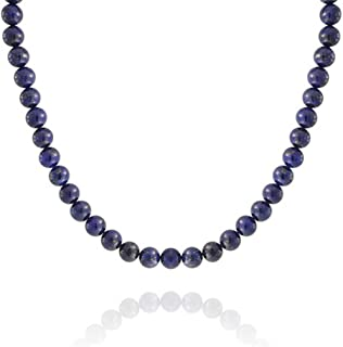 Bling Jewelry Blue Lapis Lazuli Round 10MM Bead Strand Necklace for Women for Men Silver Plated Clasp 16 Inch 18 Inch