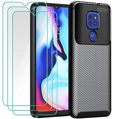 iVoler Cover per Motorola Moto E7 Plus/Moto G9 Play/Moto G9 + 3 Pezzi Pellicola Vetro Temperato, Fibra di Carbonio Custodia Protezione in Morbida Silicone TPU Anti-Graffio e Antiurto Case - Nero
