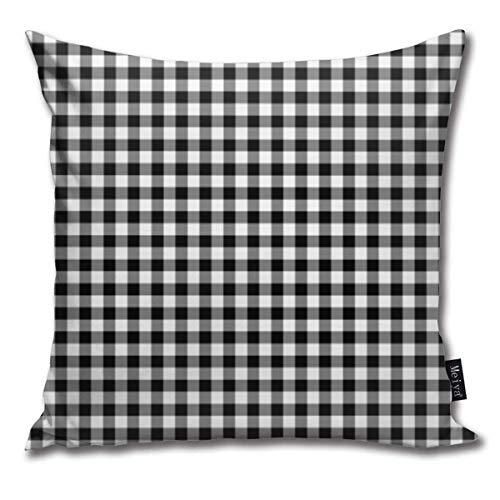 IUBBKI Paiman - Fundas de Almohada con diseño de Cuadros Vichy en Blanco y Negro, 18 x 18 Pulgadas (45 x 45 cm COU para sofá de Granja al Aire Libre