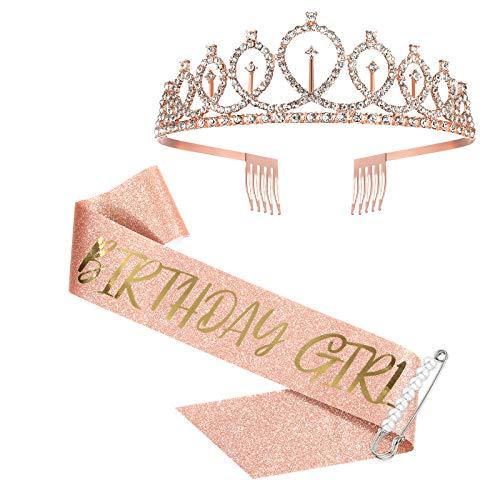 Fajín y tiara para niña de cumpleaños para mujeres y niñas, fajín de cumpleaños de oro rosa para regalos de cumpleaños 16, 18, 21, 25, 30, 40, 50 cumpleaños, suministros para fiestas de cumpleaños