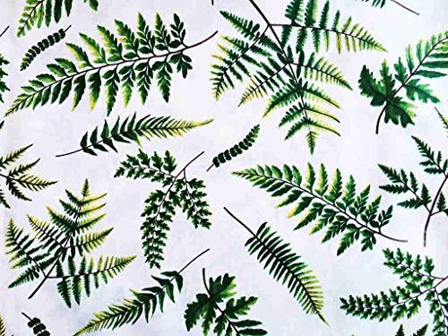 Italian Home Textile Company Tessuto Motivo Felci | Prodotto Made in Italy | 100% Puro Cotone | Altezza 180 cm | Il Tessuto è in Vendita al Metro