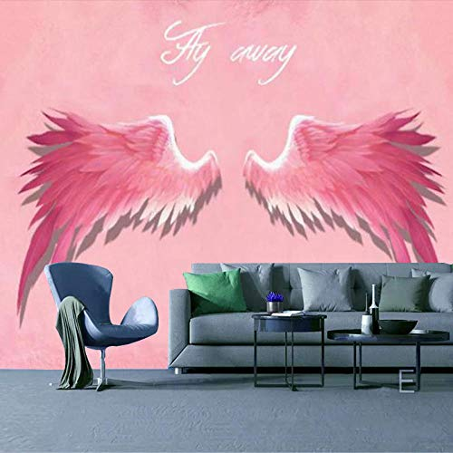 RTYUIHN 3D Wallpaper Mural 3D Stereo Pink Angel Wings Bedroom Living Room Modern Wall Art Decoration