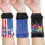 Weewooday 3 Pieces Universal Phone Holder Armbands Stretchy Running Armband with 2 Pockets Wrist Cell Phone Holders Sports Arm Band for Phones Keys