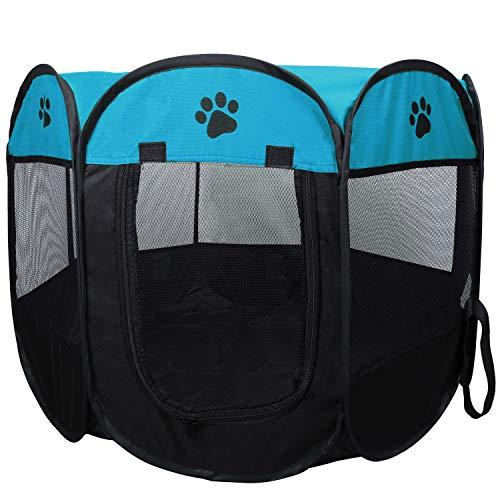 Coolty Faltbar Haustier Zelt, 8-Panel Haustier Tierlaufstall, Tragbar Haustier Haus für Hunde Katzen Kaninchen Kleintiere, 73 * 73 * 43cm (Blau)