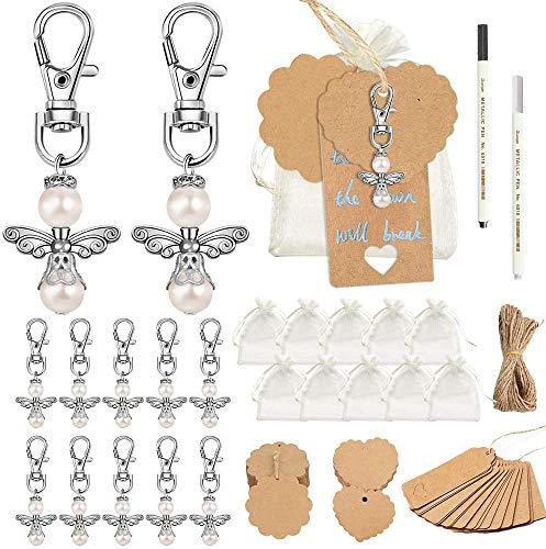 Etiquetas de regalo de color marrón, SPECOOL Kraft Paper Luggage Labels Set con 40 Colgante de Perla 20 M cuerda de yute marrón 40 etiquetas de nombre 2 bolígrafos DIY para boda Baby Baptism Party
