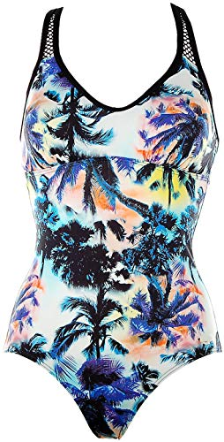 Sunseeker Damen Badeanzug mit Softshalen und Mesh-Einsatz Tropical Print (schwarz türkis, 42)