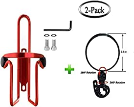 Bike Water Bottle Cage & Bike Rearview Mirrors for Handlebar,Bicycle Alloy Aluminum Lightweight Water Bottle Holder Cage Bracket Bundle with 360°Horizontal Rotation,180°Vertical Rotation Bike Mirror