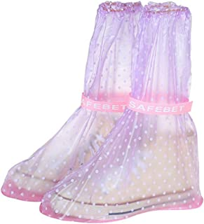 YoyoArt Students Girls Waterproof Rain Shoe Covers with Durable PVC Material for Travel School