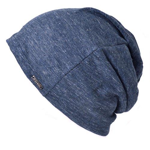 CHARM Mens Summer Linen Beanie - Slouchy Lightweight Knit Hat Slouch Cap Casualbox Navy