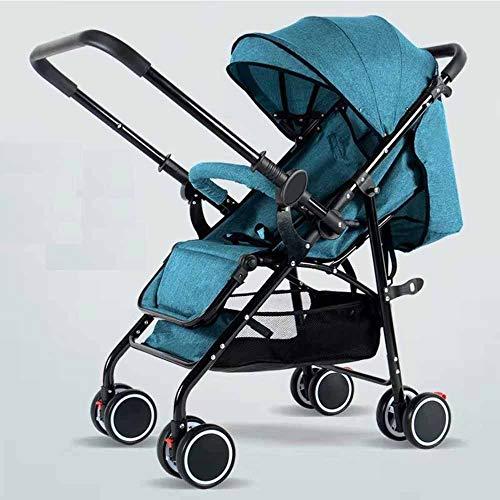 MUYU Praktischer Kinderwagenwagen und Markise Vier Jahreszeiten tragbarer Kinderwagen kann leicht gefaltet Werden Auto und Flugzeug Reisen,Blue