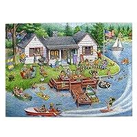 500ピース ジグソーパズル カートゥーン 遊ぶ人達 パズル 木製パズル 動物 風景 絵 ピクチュアパズル Puzzle 52.2x38.5cm
