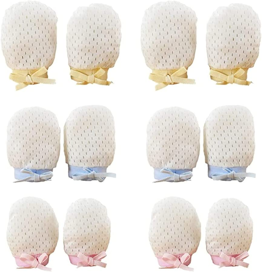 LIXBD Baby Anti Scratch Gloves No Scratch Mittens Breathable Newborn Hands Protector for Infant 0-1 Yars Old Boys Girls 6 Pairs
