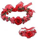 HENGSONG Bandeau Fleur Fée Fleur couronne de fleurs cheveux pour le soir de robe de mariée demoiselle d'honneur, 1 x Bandeau Fleur + 1 x Bracelet Fleur (Rouge)