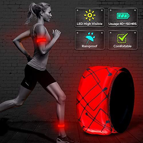 ELANOX LED Armband Leuchtband für Sport Outdoor Reflektorband Sicherheitslicht Slap Band für Fahrradfahren Joggen Kinderwagen (1 St. rot)