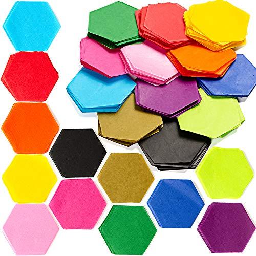 Exquiss 1200 Pieces 12 Colors Tissue Paper Hexagon 2.4 x 2.2 Inch Bulk 12 Colors for Art Paper Craft Scrunch Art Kids Craft DIY Craft Tracing Scrapbooking Embellishments Mural Rainbow School Supplies