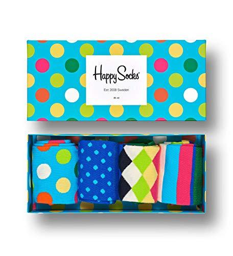 Happy Socks, bunt premium baumwolle Geschenkkarton 4 Paar Socken für Männer und Frauen, Big Dot Geschenkbox (36-40)