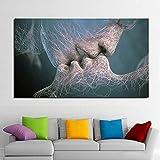 Pareja beso arte de pared abstracto pintura al óleo sobre lienzo carteles Cuadros cuadros de arte de pared para sala de estar 35x70 CM (sin marco)