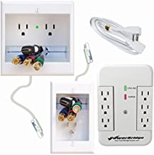 PowerBridge Solutions In Wall Cable Management PowerBridge TWO-CK-SP with PowerConnect for Wall-Mounted Flat Screen LED, LCD, and Plasma TV's with Surge Protector