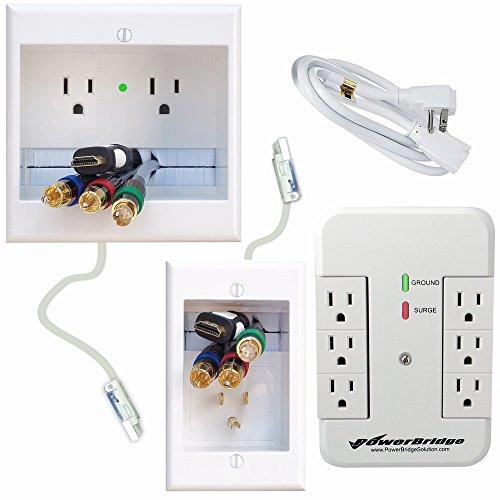 PowerBridge ONE-CK Kabel-Management-System mit PowerConnect für Wand-Flachbildschirme LED, LCD, Plasma Fernseher Duale Power mit Überstromschutz Dual Power + Surge Protector weiß