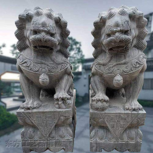 Wohnaccessoires Beijing Lions Statuen Paar Fu FOO H&e Feng Shui Dekoration Chinesisches Traditionelles Glückverheißendes Tier Bluestone Ward Off Evil Energy