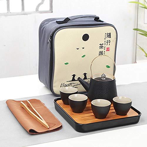 Juego de té de cerámica, Maceta Hecha a Mano, Cuatro Tazas, Juego de té de Viaje Kung Fu, personalización de Olla Japonesa portátil-Una Olla y Cuatro Tazas de Vigas de cerámica Negra.