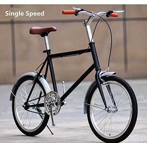 Bicicleta Bicicleta bicicletas de montaña bicicleta estática Bicicletas masculinas y femeninas Street Retro Bike Carbon Steel Frame 20 pulgadas Commuter Bicicleta Outdoor Sport Student Lady-Negro A